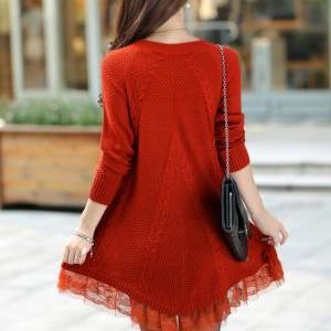 Round Neck Long Sleeve Lace Side Wo..