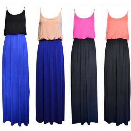 New Color Block Cotton Strappy Maxi..