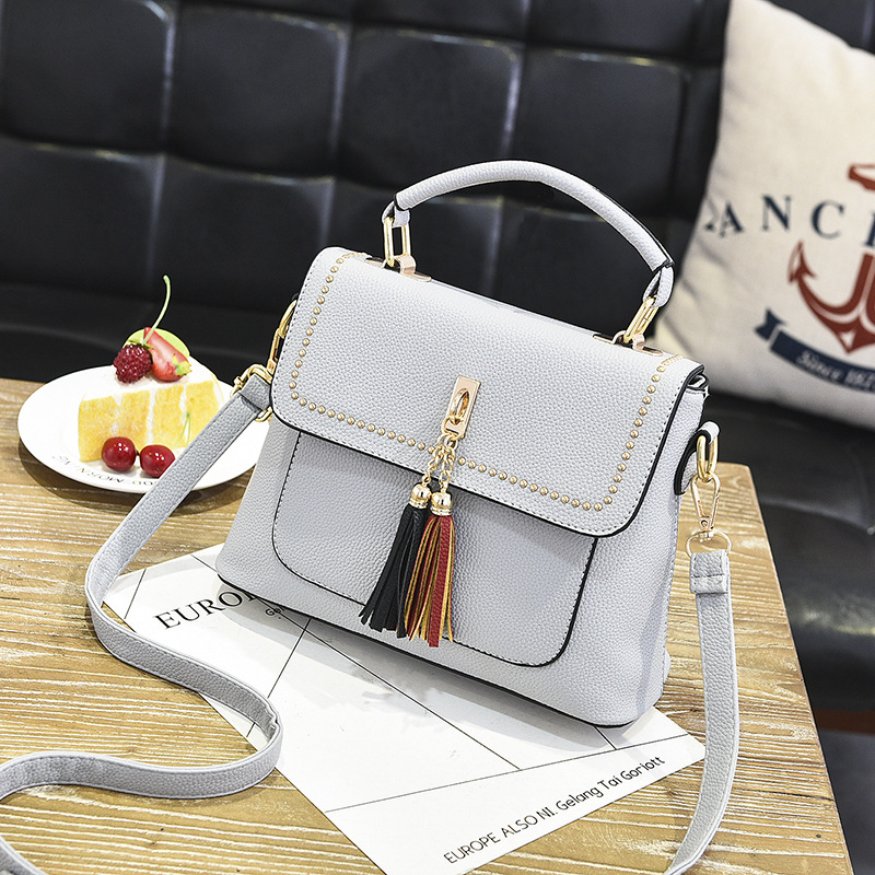 Tassel Women Messenger Bags Cross Body Shoulder Lady Bags Mini - Grey