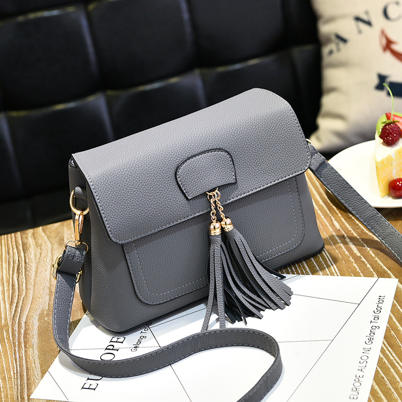 Women Tassel Mini Shoulder Bag - Grey