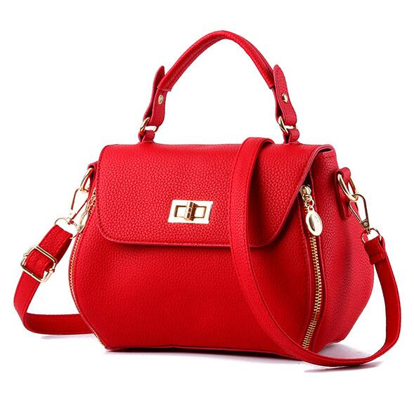 Small Women Messenger Bags Female Crossbody Shoulder Bag Mini Clutch Purse Bag Candy Color - Red