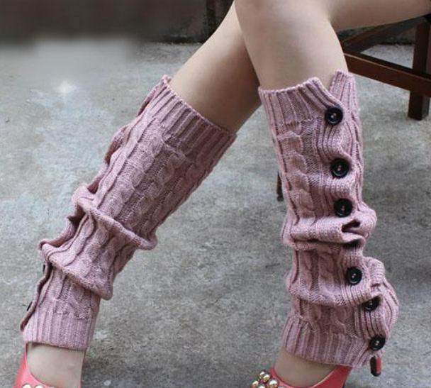 Winter Knitted Leg Warmers Accessories for Women - Pink