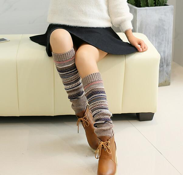 Women Ladies Winter Long Socks Knit Crochet Fashion Leg Warmers Legging Stocking - Khaki