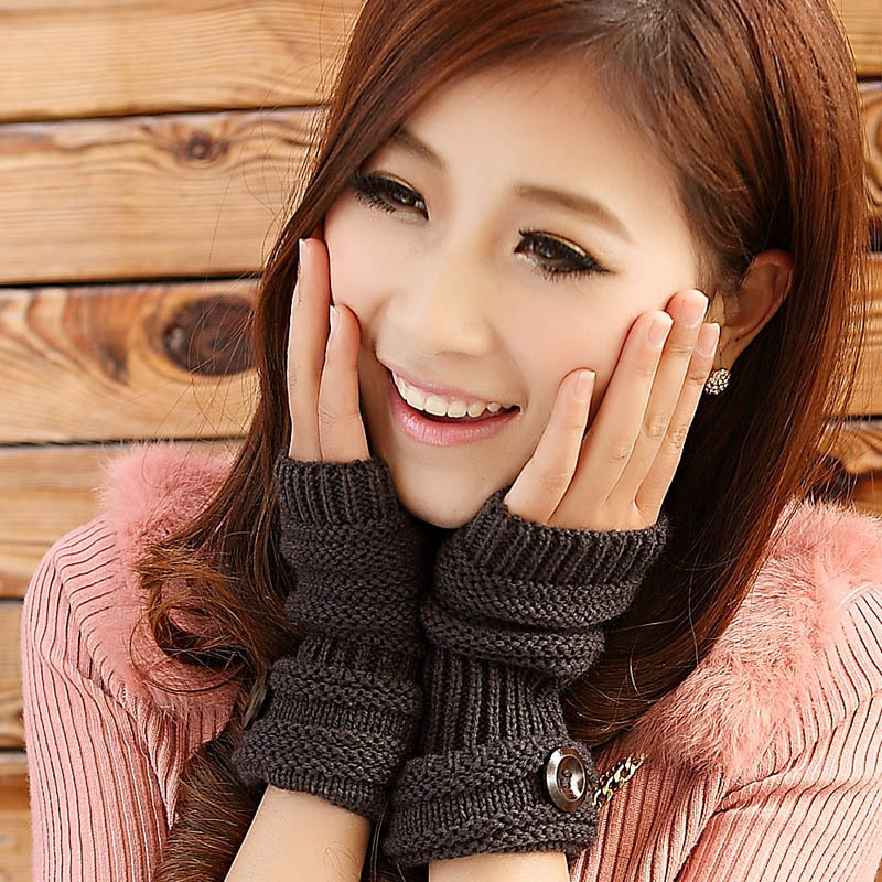 Cute Women Arm Warmer Fingerless Knitted Long Gloves - Dark Grey
