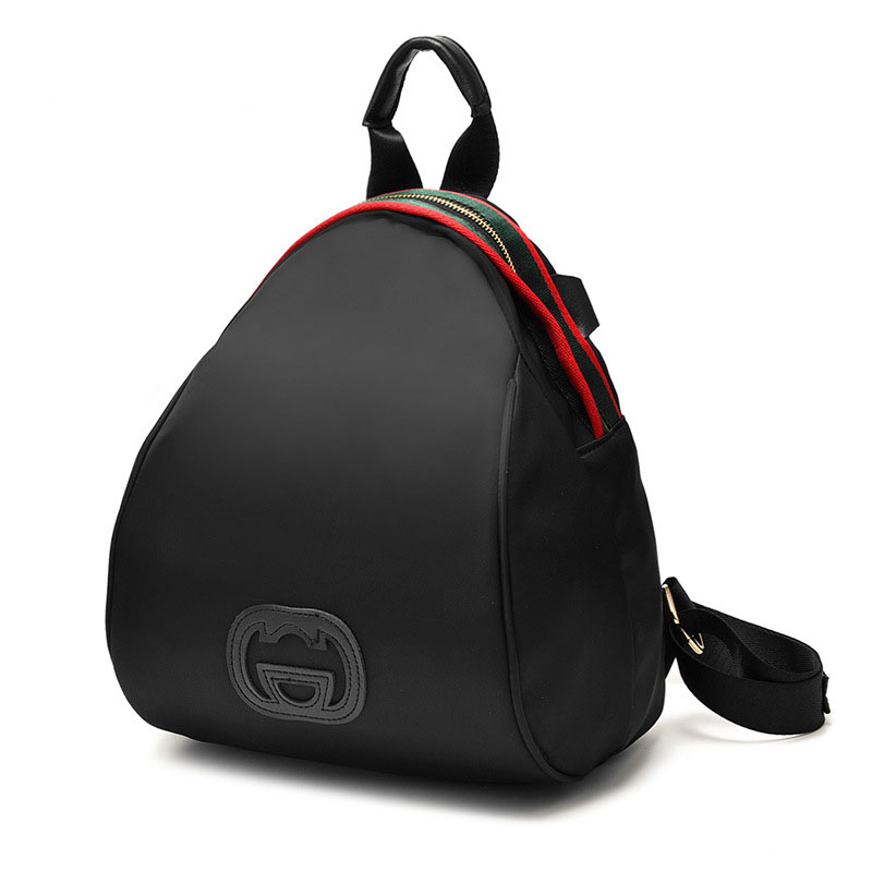 Women Nylon Mini Backpack Shoulder Bag - Black