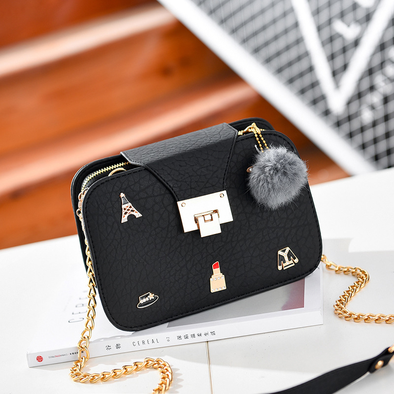 Cute Women Crossbody Mini Shoulder Bag Girls Chain Messenger Bag Ladies  Small Handbags Purse - Black 1015706cc51ba
