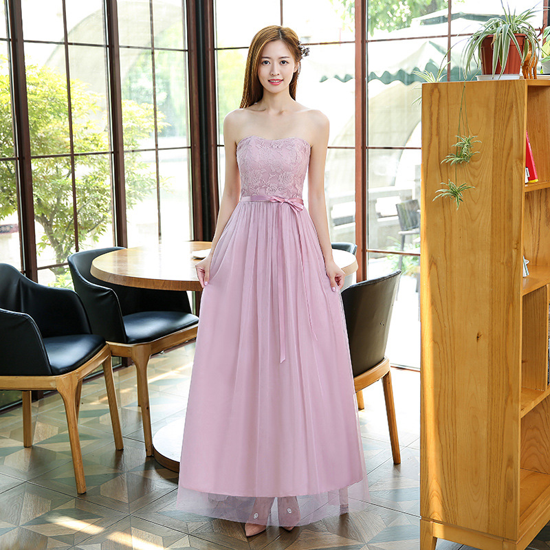 Beautiful Strapless Women Long Gauze Evening Formal Wedding Party Bridesmaid Cocktail Dresses - Pink