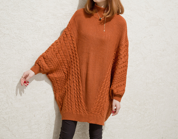 Women Long Batwing Sleeve Loose Sweater Pullover Tops - Brown