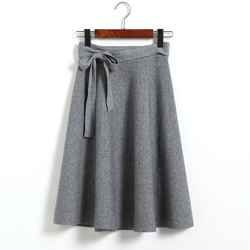 High Waist Solid Bow A Line Skirt - Grey
