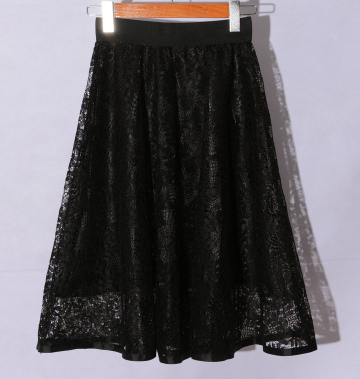 New Hollow Lace A Line Skirt - Black