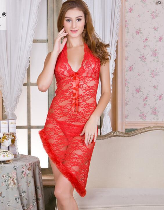 Sexy Halter Lingerie Lace Dress Sleepwear