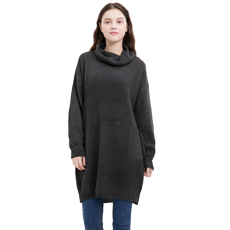 a9f8d639a60 Fashion High Neck Long Sleeve Loose Sweater Dress - Black on Luulla