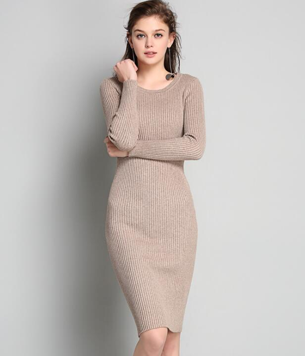 Knitted Crew Neck Long Sleeves Knee Length Sweater Dress