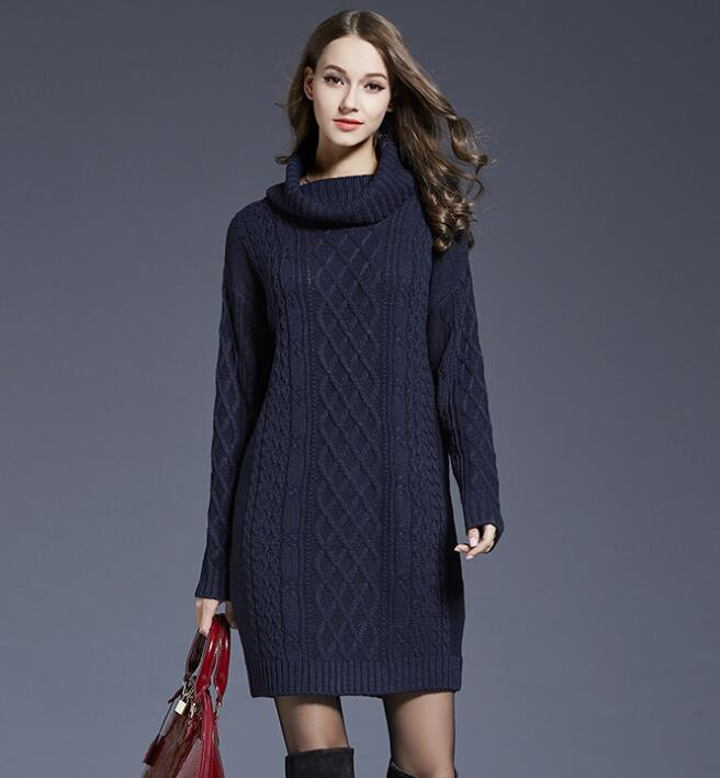 4337a059b Navy Blue Cable Knitted Turtleneck Long Cuffed Sleeves Short Sweater Dress