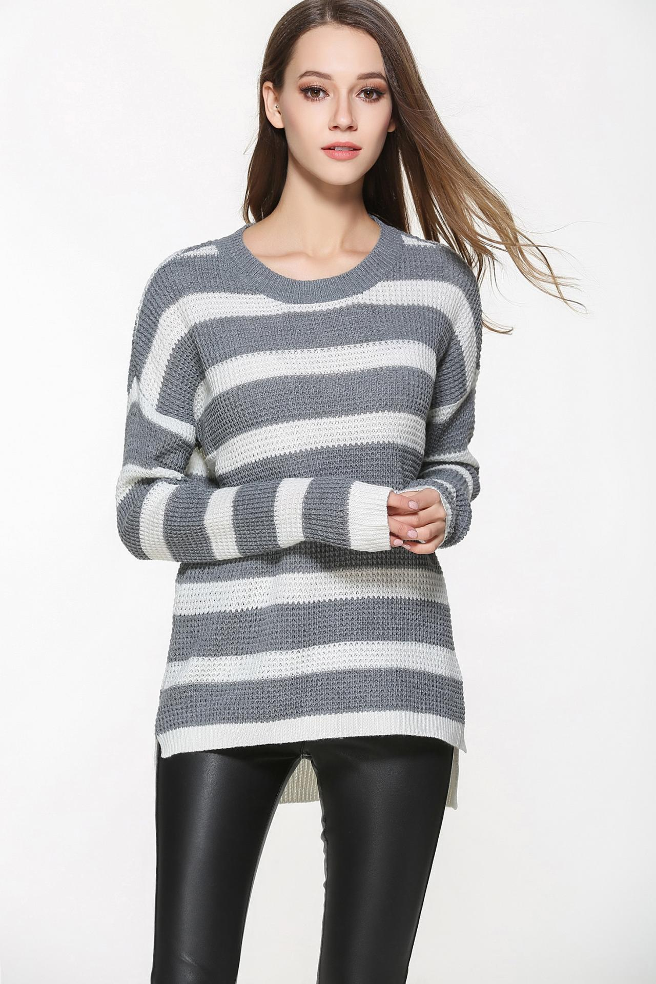 Grey and White Knit Crew Neck Long Cuffed Sleeves Sweater Featuring High Low Hem