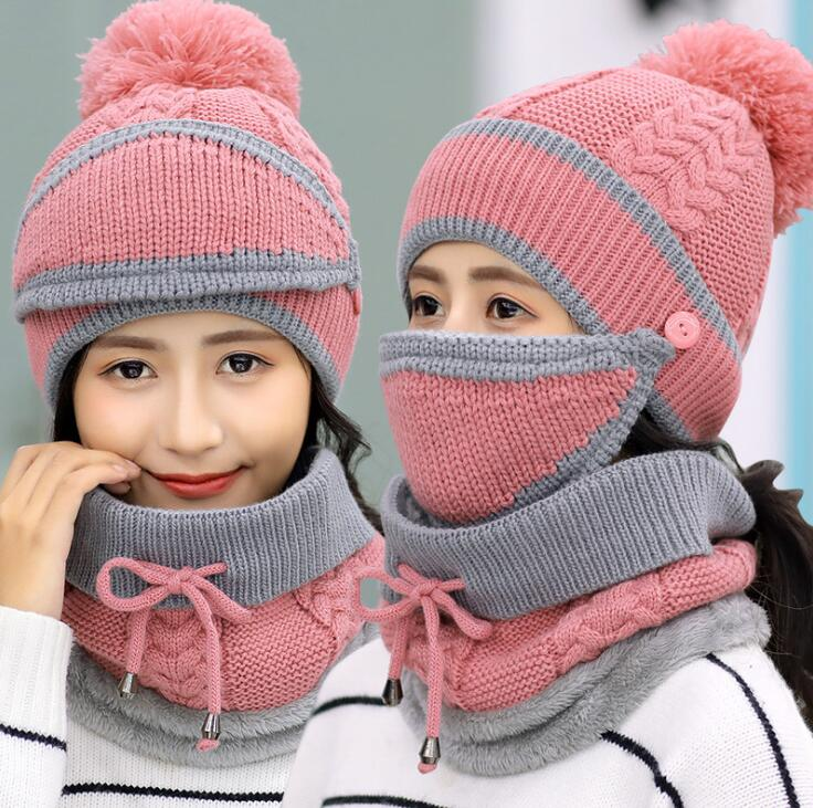 Fashion Winter Hedging Cap Scarf Suit Knit Hats - Pink