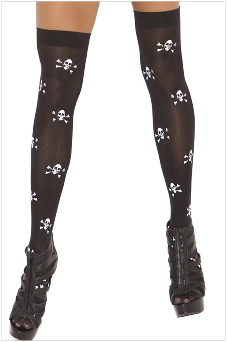 Sexy Halloween Party Skull Long Socks