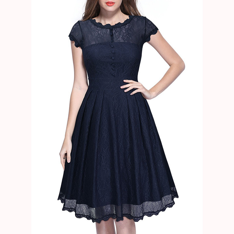 Women's Retro Short Sleeve Lace Slim Party Dress - Dark Blue