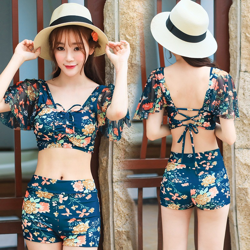 89870788466fd Women s Swimsuit Sexy Three Pieces Swimwear Set Push Up Swim Wear Print  with Cover Ups Bathing Suit - Blue