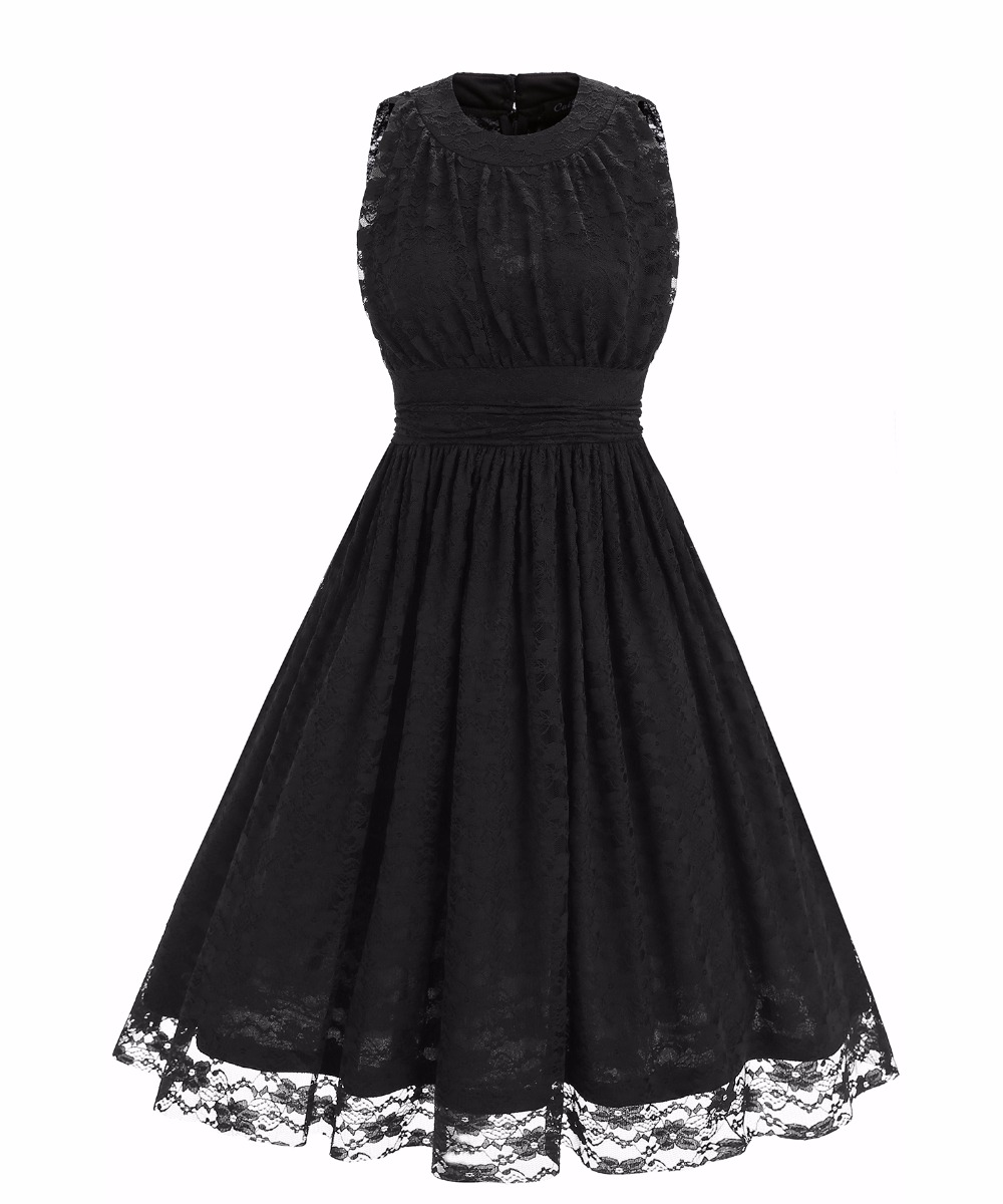 e25e93a6ce4 Women's O Neck Sleeveless Slim Tunic Ruched Floral Lace Dress - Black