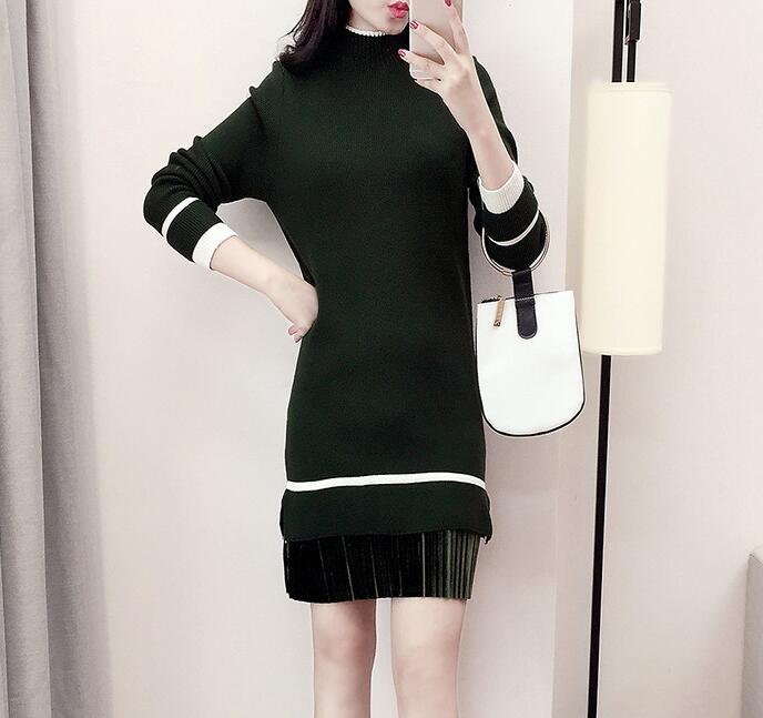 Women's Long Sleeve Knitted Casual Turtleneck Sweater - Amy Green