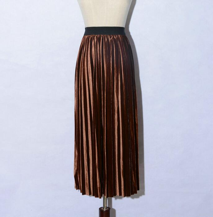 women Retro Pleated Skirt High Waist Maxi Dress - Coffee
