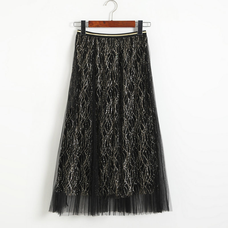 New Style Sequins Gauze A Line Skirt - Black