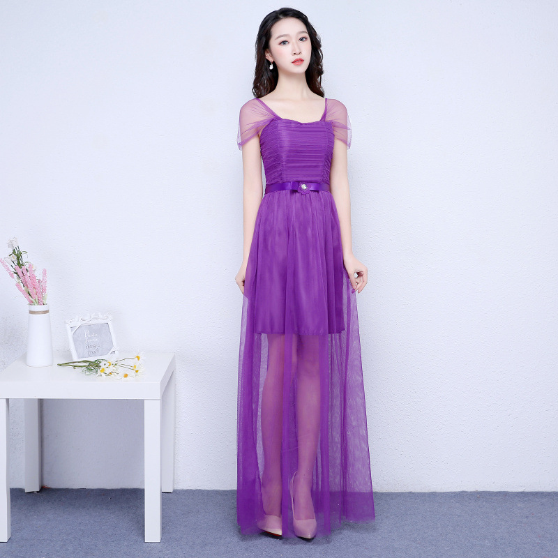 New Purple Color Sleeveless Long Bridesmaid Prom Party Dress