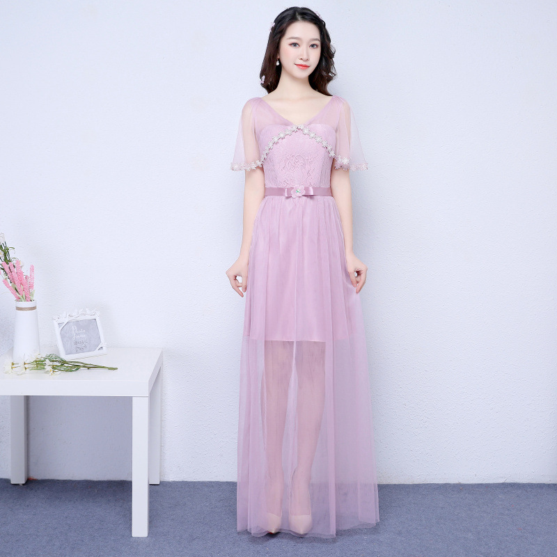 New Pink Color V Neck Long Bridesmaid Prom Party Dress