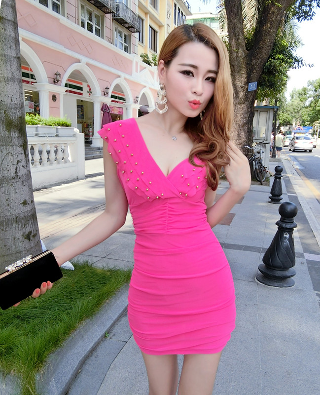 Nightclub sexy V neck ruffled collar sleeveless dress - Rose