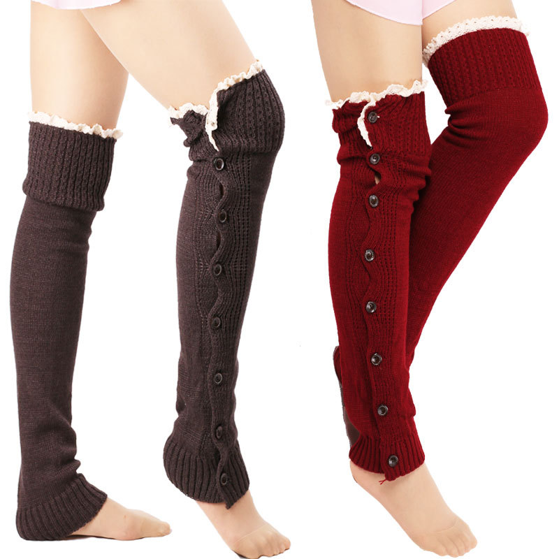 Women Warmer Knee High Knit Flat Lace Trim Button Down Crochet Leg Boot Socks