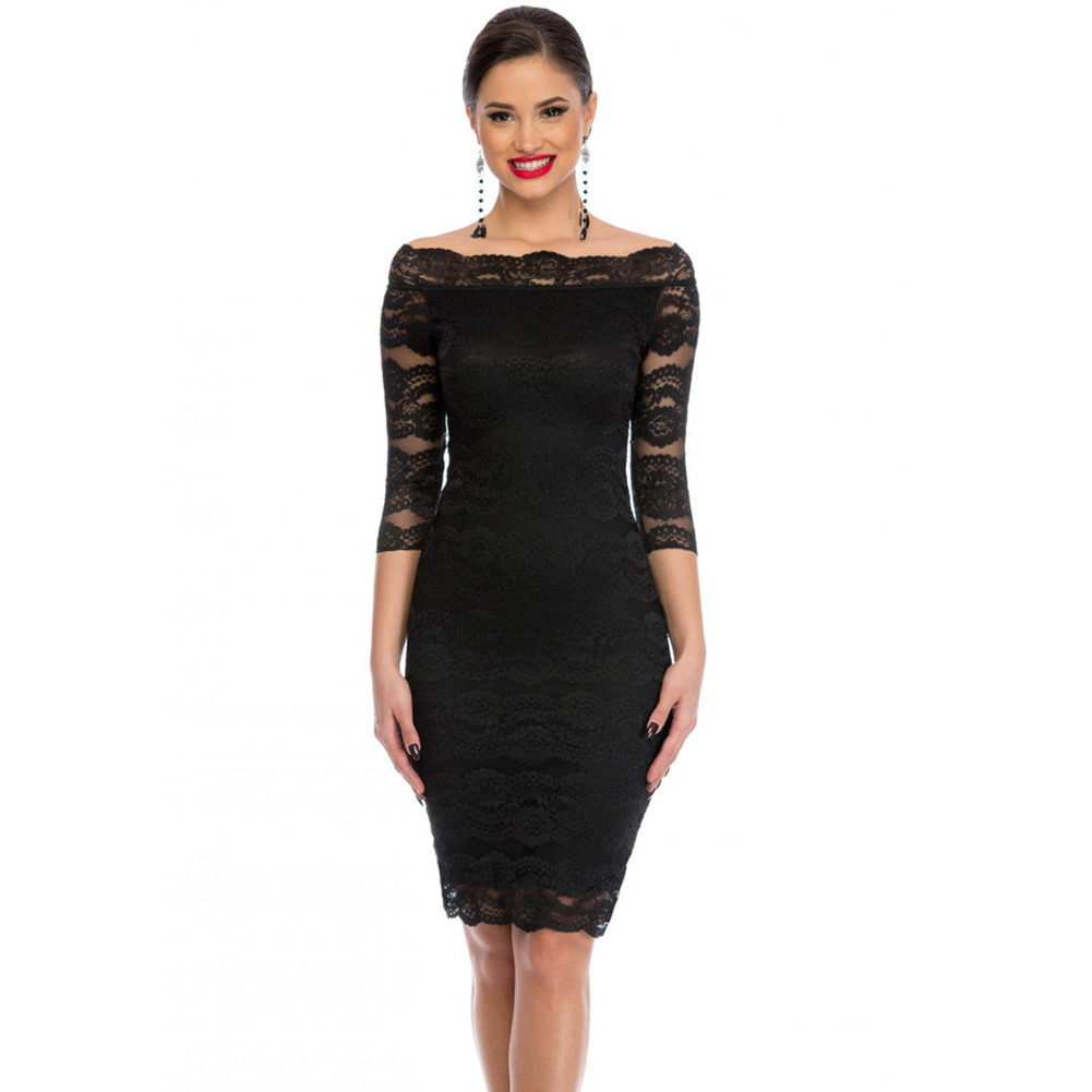 Sexy Solid Black Off The Shoulder Fitted Hollow Lace Dress