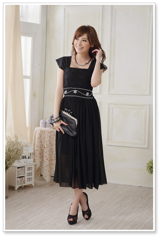 Top Selling Evening Dress Sleeveless Chiffon Wedding Bridesmaid Dress - Black