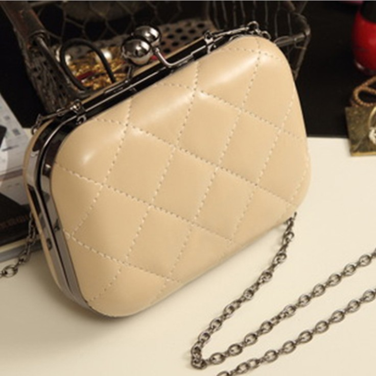Candy-Color Evening Clutch Party Bridal Fashion Chain Mini Lingge Bags Clutch Handbag-Beige