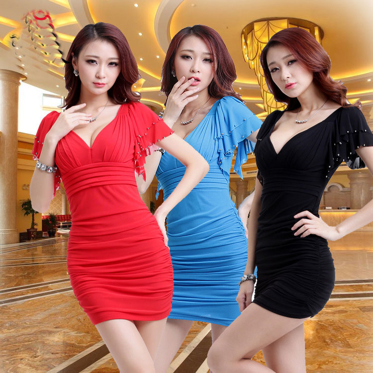 Spring and summer nightclub sexy slim dress