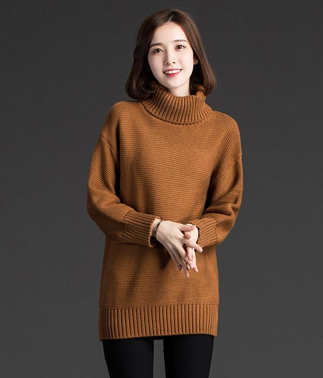 New Women Fashion Turtleneck Sweater Women Shirt - Brown on Luulla