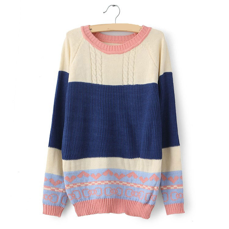 Sweet Women Crew Neck Mosaic Shirt Sweater-Blue