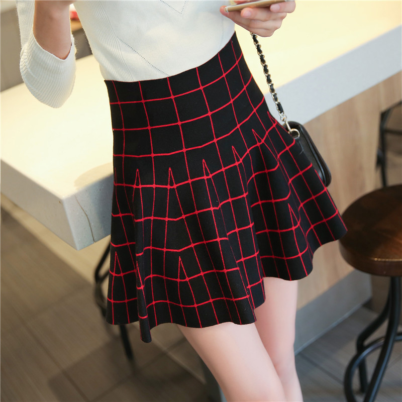 Plaid Skirts High Waist Casual Women Knit Skirts