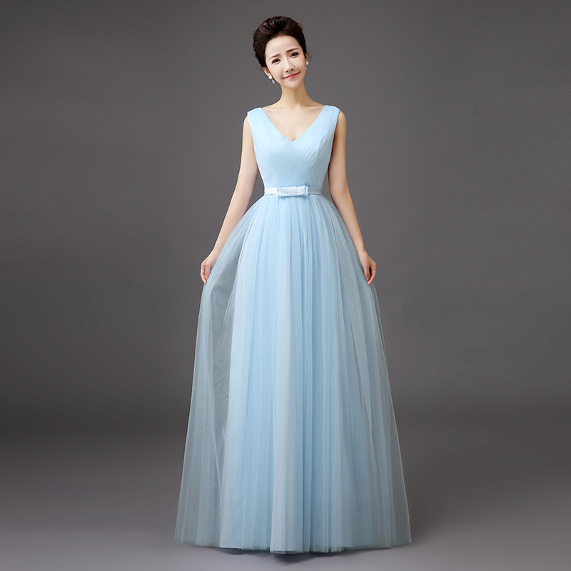 Women Fashion Vest Style Light Blue Dress Bridesmaid Prom Evening Long Dress