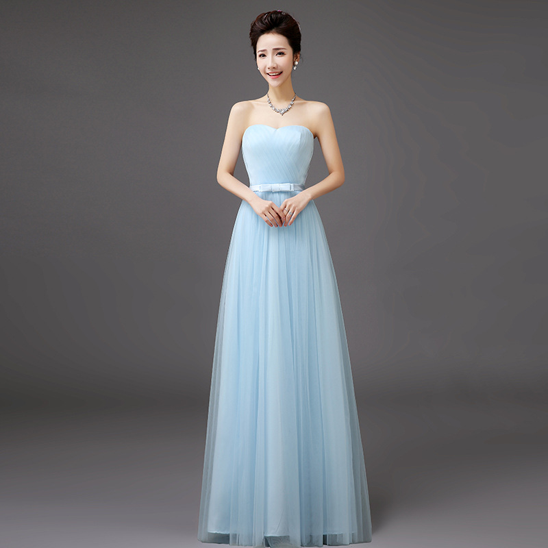 Fashion Women Ladies Mesh Strapless Bridesmaid Dress Long Wedding Party Dress Prom Gown