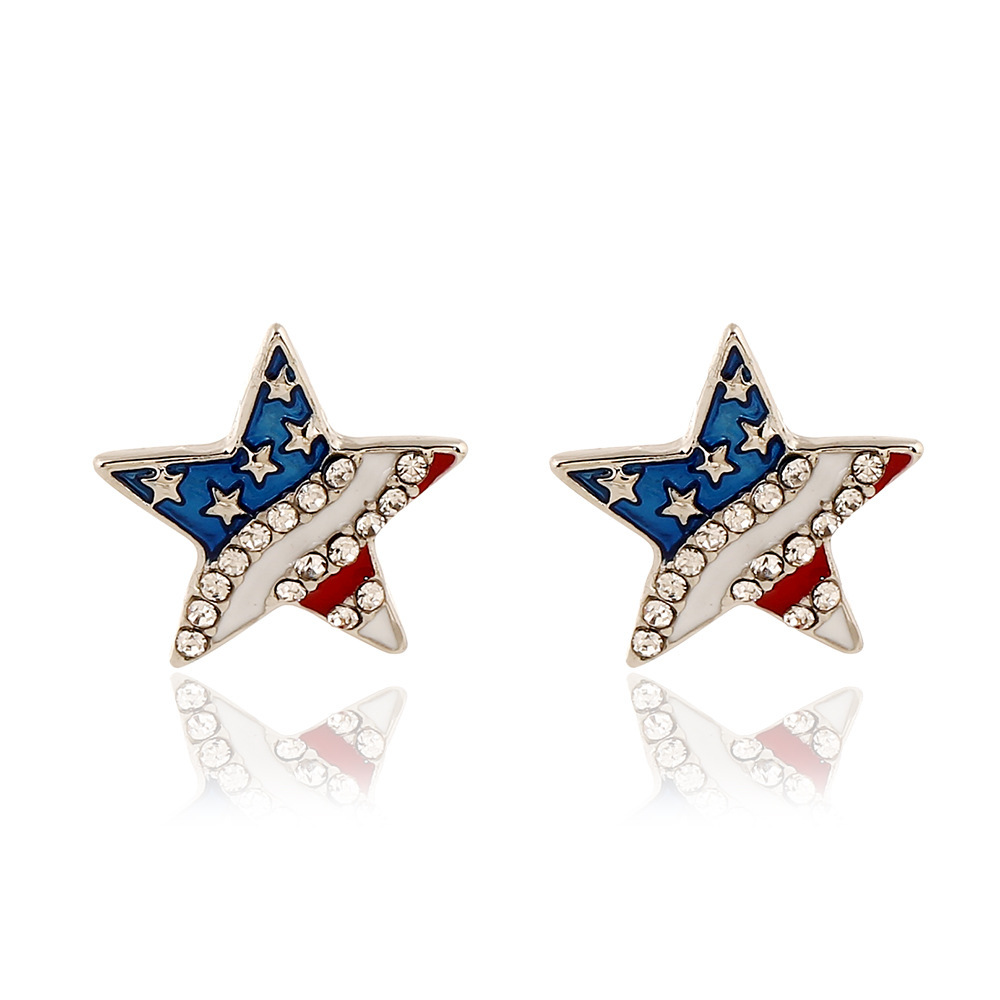 Rhinestone Embellished Star Shape Design Earrings