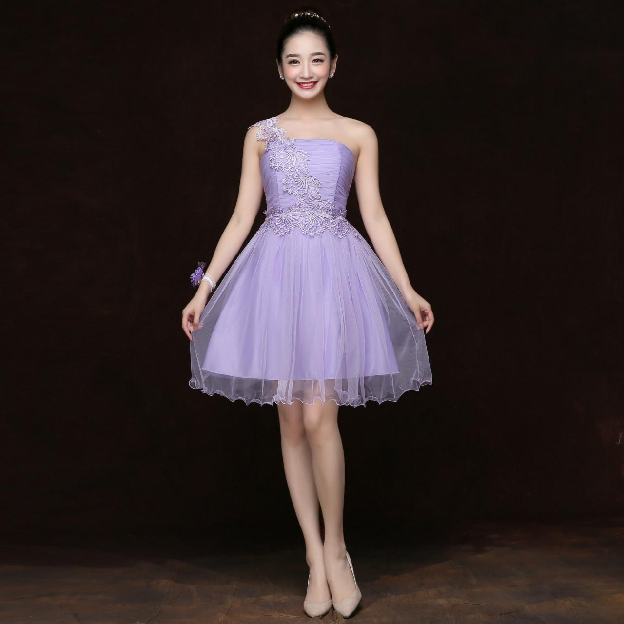 Free Shipping Fashion Women One Shoulder Mini Evening Party Prom Bridesmaid Wedding Dress - Purple