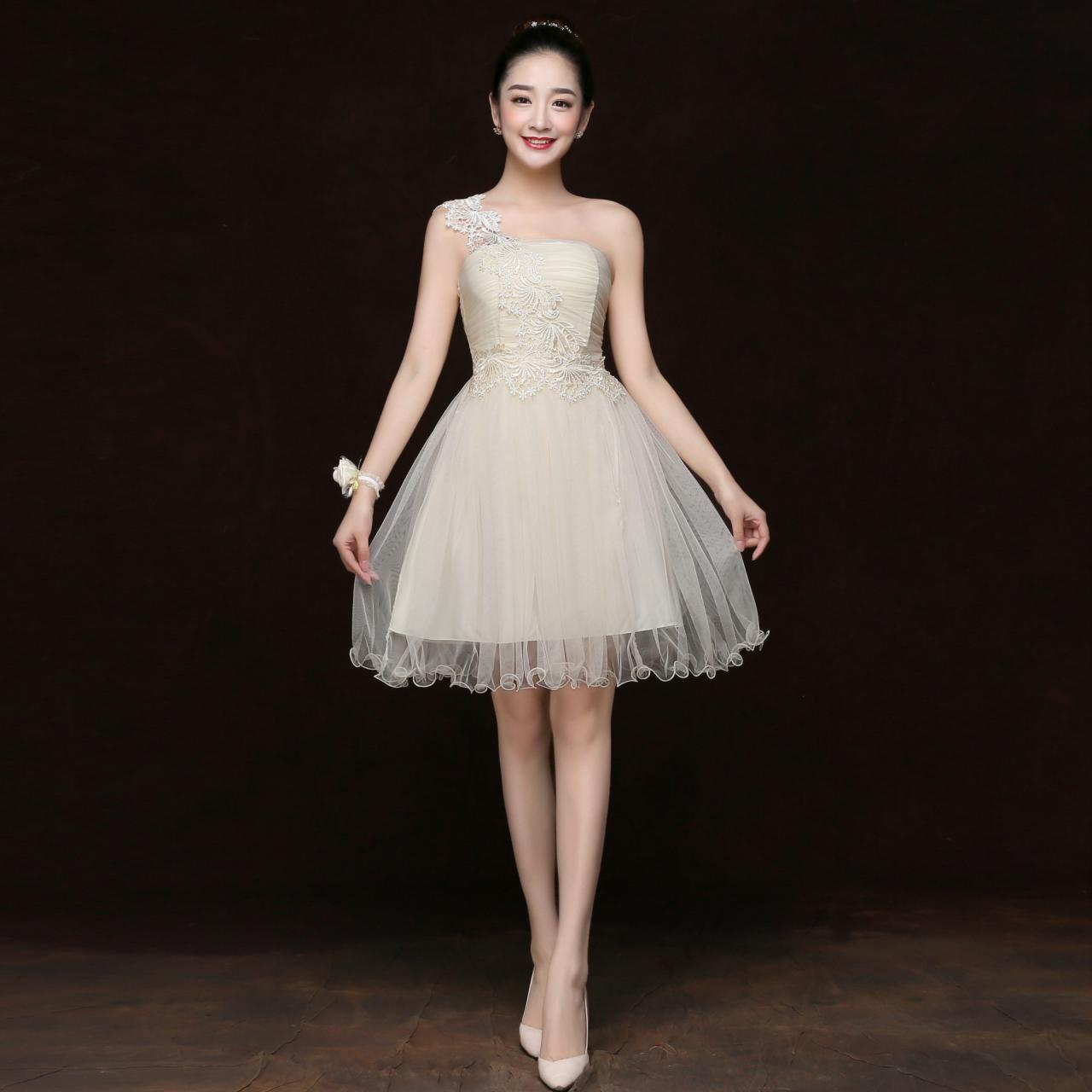 Free Shipping Fashion Women One Shoulder Mini Evening Party Prom Bridesmaid Wedding Dress - Champagne