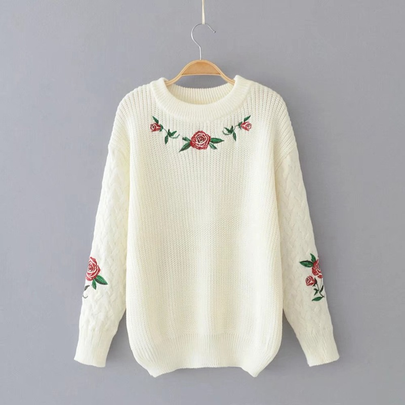 Retro Rose Flower Embroidery Sweater