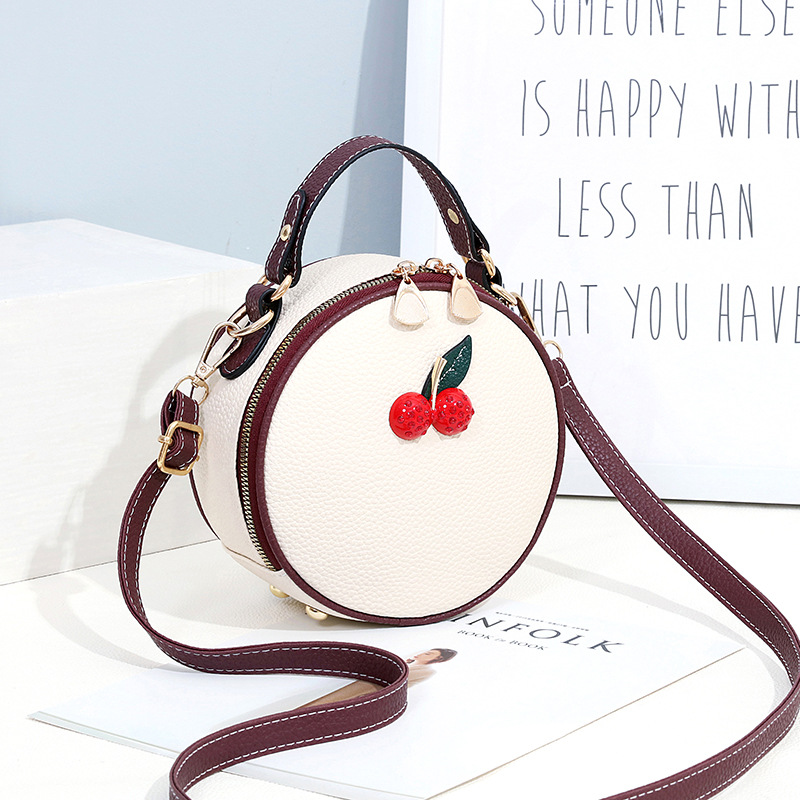 293918ff115 White Round Shape Red Cherry Shoulder Bag