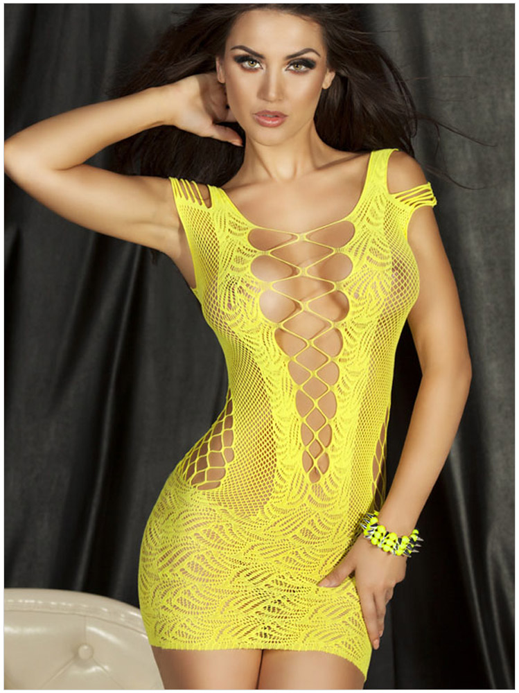 Women Sexy Lingerie Crochet Mesh Hollow Out Mini Chemise Sleepwear -Yellow