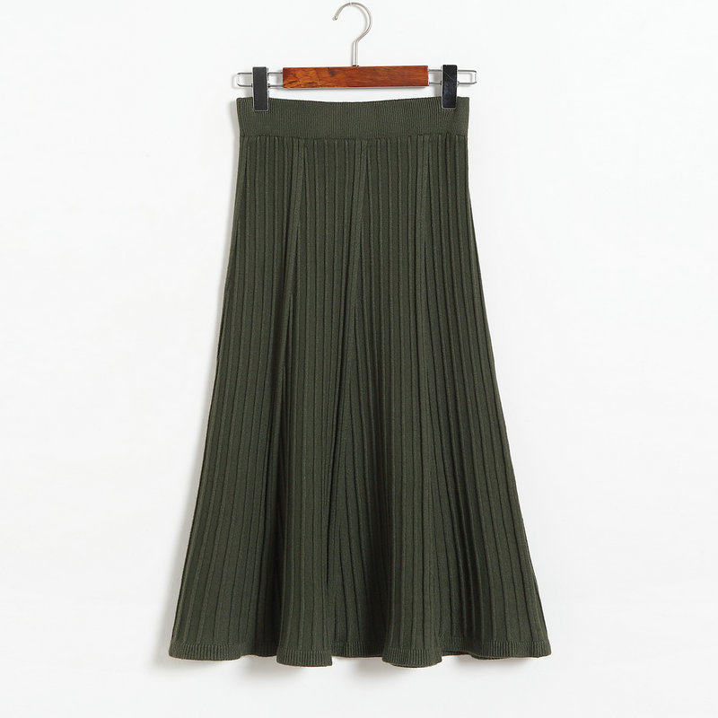 Autumn Winter Long Knitted Skirts Women Solid Color High Waist Casual Warm A-Line Skirt - Amy Green