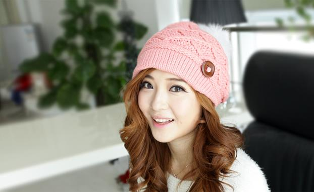Fahion 2015 Winter Little Ball Knitted Bomber Hat For Girls