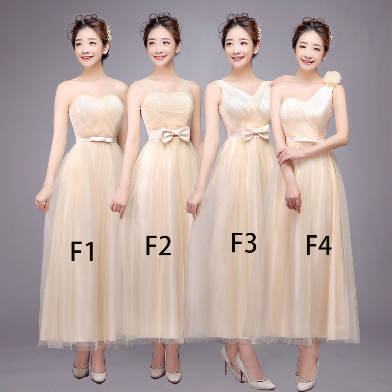 Nice Women Bridesmaid Prom Party Evening Dress Ladies Long Wedding Dress - Champagne