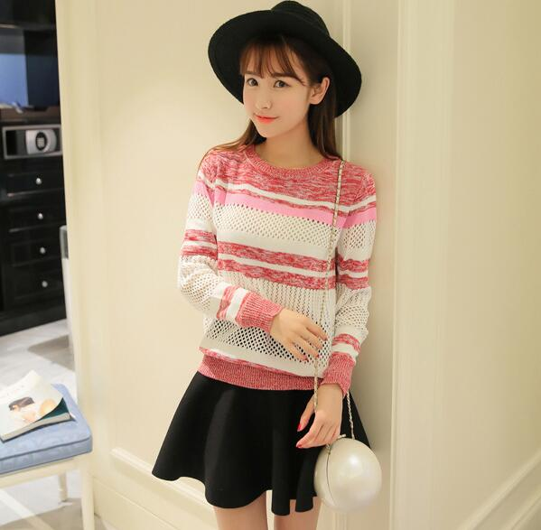 Sweet Woman Stripe Knit Hollow Sweater